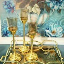 جا شمعی فلزی 3 تایی لیوانی