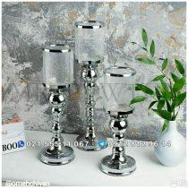 جا شمعی فلزی 3 تکه شیشه تَرَک