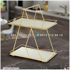 استند پذیرایی فلزی 2 طبقه کف آینه