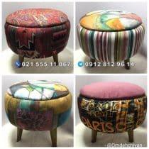 صندلی پاف مراکشی پایه چوبی