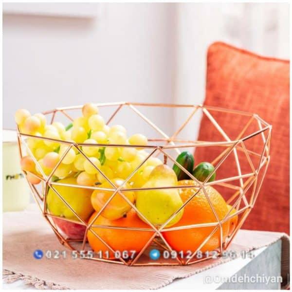سبد میوه فلزی چند ضلعی طلایی